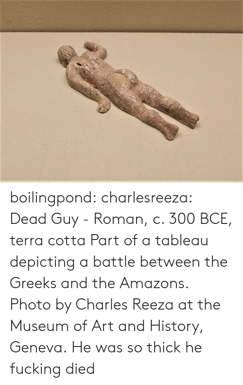 amazons: boilingpond: charlesreeza:   Dead Guy - Roman, c. 300 BCE, terra cotta Part of a tableau depicting a battle between the Greeks and the Amazons. Photo by Charles Reeza at the Museum of Art and History, Geneva.   He was so thick he fucking died