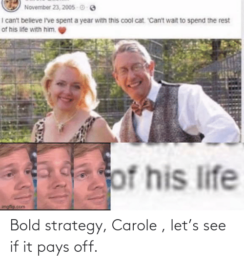 Bold: Bold strategy, Carole , let's see if it pays off.