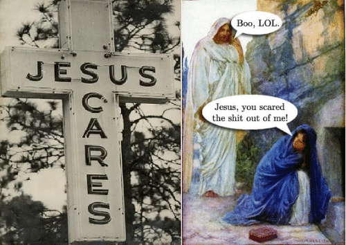 Boo, Jesus, and Lol: Boo, LOL  JESUS  Jesus, you scared  the shit out of me!  UARES
