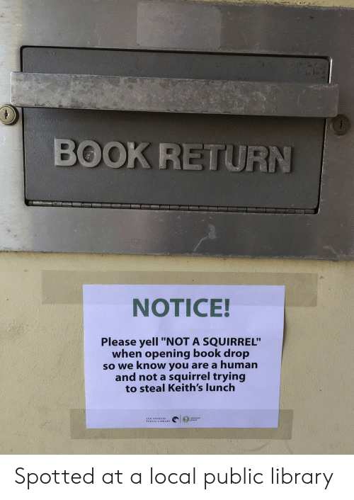 """public library: BOOK RETURN  NOTICE!  Please yell """"NOT A SQUIRREL""""  when opening book drop  so we know you are a human  and not a squirrel trying  to steal Keith's lunch Spotted at a local public library"""