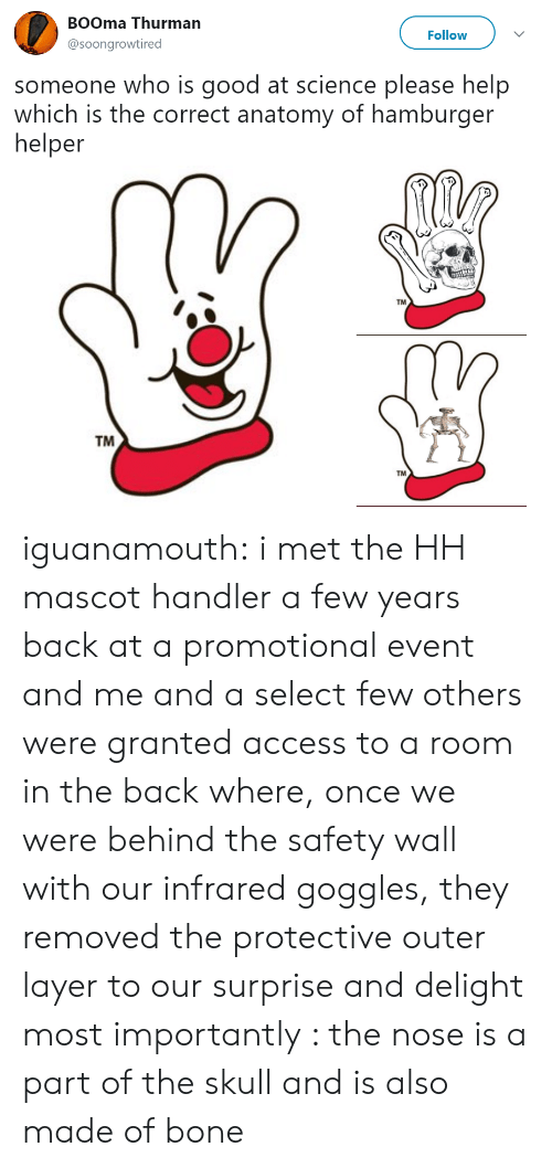 Hamburger Helper, Target, and Tumblr: BOOma Thurman  @soongrowtired  Follow  someone who is good at science please help  which is the correct anatomy of hamburger  helper  TM  TM  TM iguanamouth:  i met the HH mascot handler a few years back at a promotional event and me and a select few others were granted access to a room in the back where, once we were behind the safety wall with our infrared goggles, they removed the protective outer layer to our surprise and delight most importantly : the nose is a part of the skull and is also made of bone