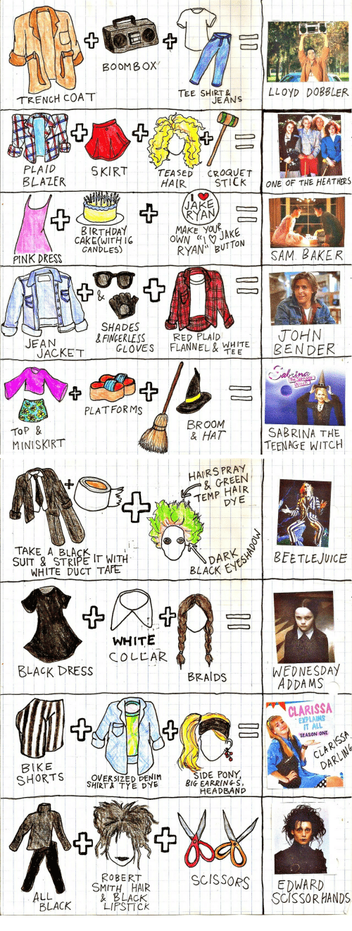 jean jacket: BOOMB OX  TRENCH COAT  TEE SHT NS LLOyD DOB8LER  JEANS  PLAID  BLAZER  SKIRT  TEASEDCROQUET  HAIR  STILK  ONE OF THE HEATHERS  JAKE  RYAN  B IRTHDA  CAKE (WITH I6  CANDLES)  PINK DRESS  RYAN BUTTON  SAM. BAKER  SHADES  &FINGERLESSRED PLAID  JOHN  ! BENDER  JEAN  JACKET  GLOVES  FLANNEL&뱉옅E  TEE  na  PLATFORMS  TOP &  MINISKIRT  BROOM  & HAT  SABRINA THE  TEENAGE WITCH   HAIRS PRAY  & GREEN  TEMP HAIR  DY E  TAKE A BLAS I  SUIT & STRIPE T WITH  WHITE DUCT TAFE  BLACK E  WHITE  COLLAR  BLACK DRESS  BRAIDS  WEDNESDAY  ADDAMS  CLARISSA  EXPLAINS  IT ALL  SEASON ONE  BIKE  CLAR  OVERSIZED-DENIM  SHIRT TYE DYE  SIDE PONY,  BIG EARRINGS,  HEADBAND  DARい  YS  ROBERT  SMITH HAIR  BLACK  SCISSORSEDWAR  ALL  LACK AC  SCISSOR HANDS