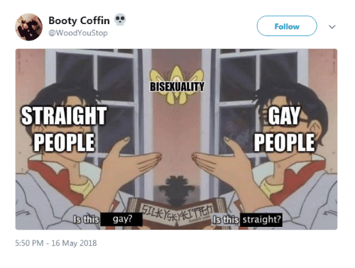 Booty, Bisexuality, and Gay: Booty Coffin  @WoodYouStop  Follow  BISEXUALITY  STRAIGHT  PEOPLE  GAY  PEOPLE  Is this gay?  ls this straight?  5:50 PM - 16 May 2018