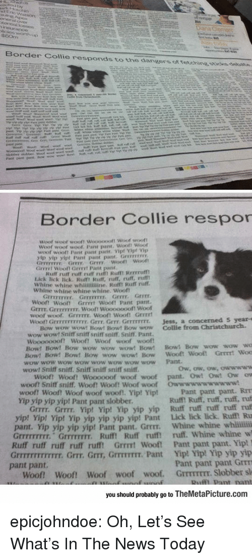 Whine: Border Collie responds to the dangers ot tetehine ssoees, debatn.  Border Collie respor  Woof  woot wooft Woooopoft Woof woott  Woof woot  woof. Pant pant. Woof! Woof  woof wooft Pant pant pant Vip! Yipt Vp  yip yip yipt Pant pant pant. Grrevrss  GFFEFETFY Grrr Grrr woof! Woot  Grrrrt Wooll Gerrrt Pant pant  Kuff rurt ruff ruff ru Rufmt Rrrrruf  Lick lick lick. Rulft Ruff, ruff, ruff, rufl  Whine whine whinimine. Rafft Ruff ruff.  Whine whine whine whine. Woof  Grrrr.  『rrrrrrrr.  Grrrrrrrr,  Grrrr  Woont Woot Grrrrt Wooft Pant pant  Grrrt. GrrEFFIEIr. Wooft Wooooooof! Woof  woof woof. GrrFITE. Wooft Wooft Grrrrt  won Grrrrrrrrrrrr. Grrr, Grrr Grrrrrrrr.  Jess, a concerned S year-s  Bow wow wowt Bowt Bowt Bow wow Collie from Christchurch.  wow wowt Sniff sniff sniffT soiff. Sniff. Pant.  woof woof  Woooooooft Woof! Woof  Bow! Bow! Bow wow wow wow! Bow! Bows Bow wow wow wo  Bow! Bow! Bow! Bow wow wow! Bow Wooft  wow wow wow wow wow wow wow wow Pant  wow! Sniff sniff. Sniff sniff sniff sniff  Woof! Woof! Woooooof woof woof pant. Owt Owt Ow ow  woof? Sniff sniff. Woof! Woof! Woof woof  woof! woof! Woof woof woof!, Yip! Yip!  Yip yip yip yip! Pant pant slobber  Owwwwwwwwwww!  Pant pant pant. RrT  Ruff! Ruff, ruff, ruff, ruf  Grrrr. Grrrr. Yipt Yip! Yip yip yip Ruff ruff ruff ruff ruf  p! Vip! Yip yip yip yip yip! Pant Lick lick lick. Ruf Ru  pant. Yip yip yip yip! Pant pant. Grrrr. Whine whine whii  Grrrrrrrrr. Grrrrrrrr. Ruff! Ruff ruff ruff. Whine whine w  Ruff ruff ruff ruff rufft Grrrt Wooft Pant pant pant. Yip!  Grrrrrrrrrrrrr. Grrr. Grr, GrrrTIT. Pant Yip! Yip! Yip yip yip  Pant pant pant Grrm  Woof Woof! Woof woof woof. GrrmrEEr. Slobber sl  yip! Yi  pant pant.  you should probably go to TheMetaPicture.com epicjohndoe:  Oh, Let's See What's In The News Today