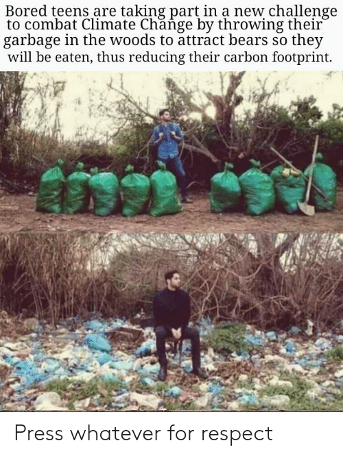 Bored, Respect, and Bears: Bored teens are taking part in a new challenge  to combat Climate Change by throwing their  garbage in the woods to attract bears so they  will be eaten, thus reducing their carbon footprint. Press whatever for respect