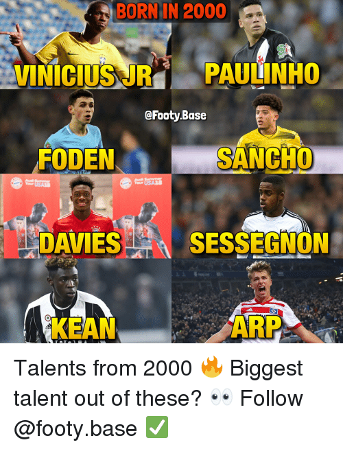 paulinho: BORN IN 2000  Si  VINICIUSUR PAULINHO  @Footy.Base  FODEN  SANCHO  AZS  DAVIES  S SESSEGNON  KEAN  ARP Talents from 2000 🔥 Biggest talent out of these? 👀 Follow @footy.base ✅