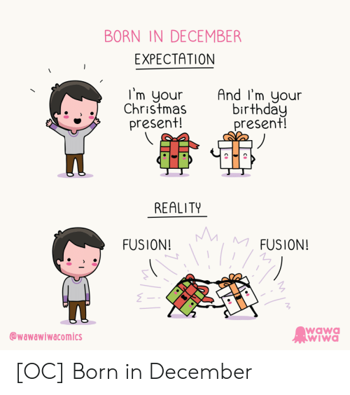Birthday, Christmas, and Wawa: BORN IN DECEMBER  EXPECTATION  I'm your  Christmas  present!  And I'm your  birthday  present!  REALITY  MM  MFUSION!  FUSION!  wawa  WIWa  wawawiwacomics [OC] Born in December