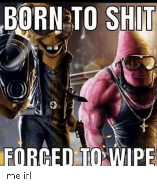 wipe: BORN TO SHIT  FORCED TO WIPE me irl