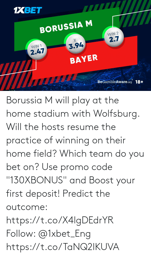 """Resume: Borussia M will play at the home stadium with Wolfsburg. Will the hosts resume the practice of winning on their home field? Which team do you bet on?  Use promo code """"130XBONUS"""" and Boost your first deposit!  Predict the outcome: https://t.co/X4lgDEdrYR Follow: @1xbet_Eng https://t.co/TaNQ2IKUVA"""