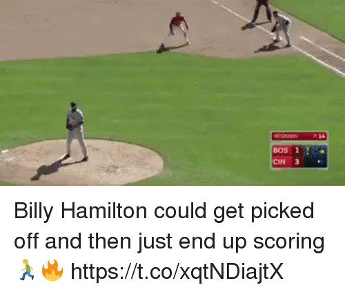Memes, 🤖, and Hamilton: BOS 1 Billy Hamilton could get picked off and then just end up scoring 🏃♂️🔥 https://t.co/xqtNDiajtX