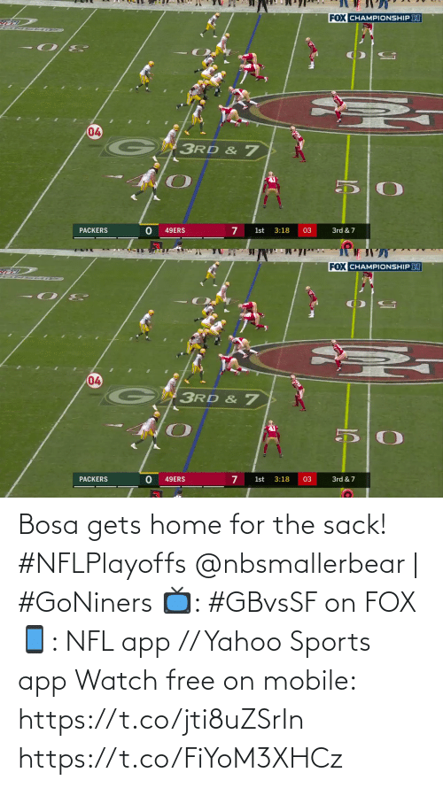 yahoo sports: Bosa gets home for the sack! #NFLPlayoffs  @nbsmallerbear | #GoNiners  📺: #GBvsSF on FOX 📱: NFL app // Yahoo Sports app Watch free on mobile: https://t.co/jti8uZSrIn https://t.co/FiYoM3XHCz