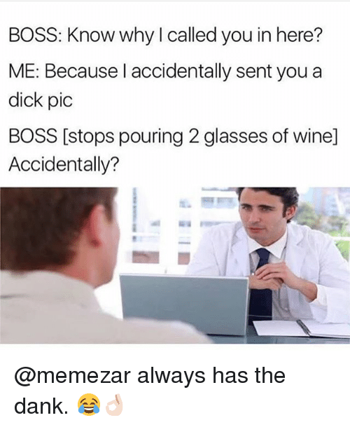 Dicks Pic: BOSS: Know why I called you in here?  ME: Because l accidentally sent you a  dick pic  BOSS [stops pouring 2 glasses of wine]  Accidentally? @memezar always has the dank. 😂👌🏻