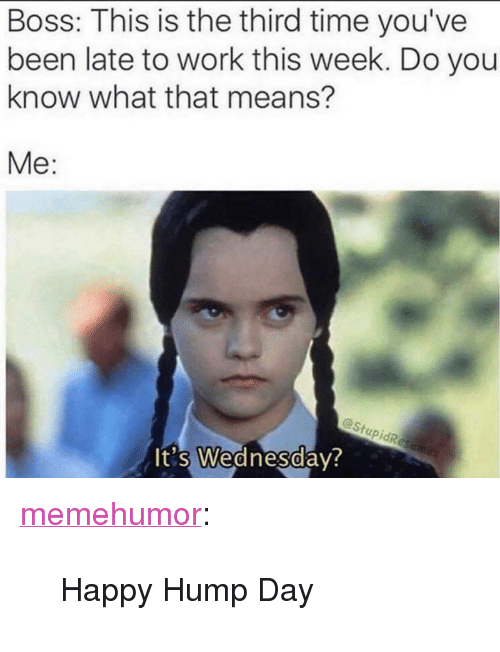 "Hump Day: Boss: This is the third time you've  been late to work this week. Do you  know what that means?  Me:  @Stu  0  t's Wednesday <p><a href=""http://memehumor.net/post/166812056138/happy-hump-day"" class=""tumblr_blog"">memehumor</a>:</p>  <blockquote><p>Happy Hump Day</p></blockquote>"