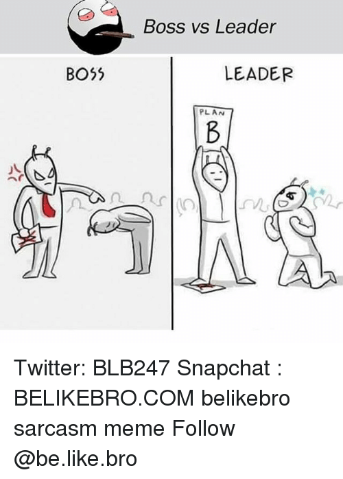 Be Like, Meme, and Memes: Boss vs Leader  BO5  LEADER  PLAN Twitter: BLB247 Snapchat : BELIKEBRO.COM belikebro sarcasm meme Follow @be.like.bro