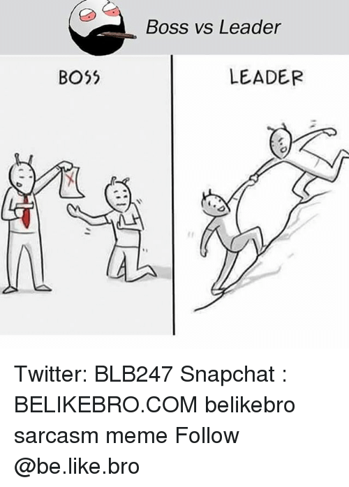 Be Like, Meme, and Memes: Boss vs Leader  BO55  LEADER Twitter: BLB247 Snapchat : BELIKEBRO.COM belikebro sarcasm meme Follow @be.like.bro