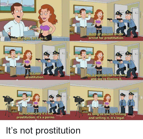 prostitution: Both of you are under  arrest for prostitution.  All right, let's do it.  tis not  prostitution.  oL paid her to have sex  Sop technicallyit's no  prostitution, it's a porno.  as long as you're ming dlobe  and selling it, it's legal It's not prostitution