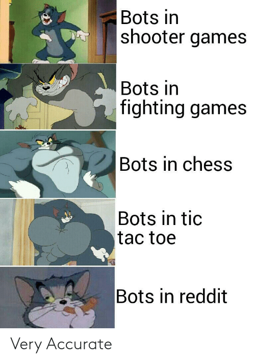 Games: Bots in  shooter games  Bots in  fighting games  Bots in chess  Bots in tic  tac toe  Bots in reddit Very Accurate