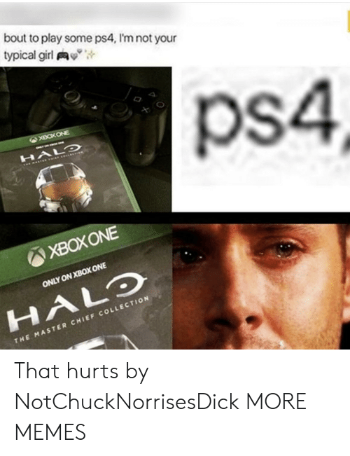 "xbox one: bout to play some ps4, I'm not your  typical girl y"",  ps4  XBOXONE  ONLY ON XBOX ONE  HALO  CHI  THE MASTER CHIEF COLLECTION That hurts by NotChuckNorrisesDick MORE MEMES"