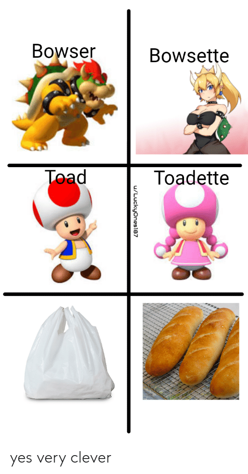 toad: Bowser  Bowsette  Toad  Toadette  u/Luckyones87 yes very clever