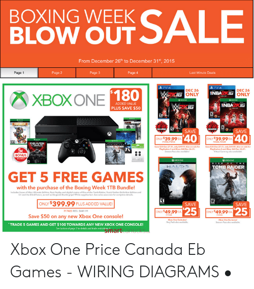 Boxing, Gears of War, and PlayStation: BOXING WEEK  BLOW OUT SALE  From December 26th to December 31st, 2015  Page 3  Page 1  Page 2  Page 4  Last Minute Deals  PS4  DEC 26  DEC 26  NBAZKIE ONLY  W2KI6 ONLY  XBOXONE 180  ADDED VALUE  WzkI6  ENBAZKIE  PLUS SAVE $50  TOMRNDER  RAREREPLAY 3  ECLESVT  CECEUSE  SAVE  SAVE  40  ONLY $39.99 EA  ONLY $39.99  EA  720648 720449  718933, 718935  GEAFS  TOMB RAIDER  Save $30 Dec 27-31, only $49.99.Also on sale for  PlayStation 3 and Xbox 360 Dec 2631  Season Pass aho awailable!  Save $30 Dec 27-31, only $49.99. Also on sale for  Playstarion 3 and 3box 360 Dec 26-31  Mirtual Curency also available  5x  BONUS  POINTS  x0axON  BOXONE  RIS  HE  TOMB RAIDER  HALO5  GET 5 FREE GAMES  with the purchase of the Boxing Week 1TB Bundle!  Includes Gears of War: Ultimate Edition, Rare Replay and digital copies of Rise of the Tomb Raider, Tomb Raider: Definitive Edition and  Ori and the Blind Forest, as well as Biogenik thumb gripst While supplies last. Seo sales associate for complete details.  ONLY $399.99  PLUS ADDED VALUE!  SAVE  SAVE  25  25  ONLY $49.99  ONLY $49.99  719133  717423 REG. $449.99  EA.  EA  Save $50 on any new Xbox One console!  717423  Xbox One Exclusle  Req Pack also avaidable  Xbox One Exclunive  Season Pass also available  TRADE 5 GAMES AND GET $100 TOWARDS ANY NEW XBOX ONE CONSOLE!  See bottom of page 2 for details and trade restrictions  gmartcanucks Xbox One Price Canada Eb Games - WIRING DIAGRAMS •