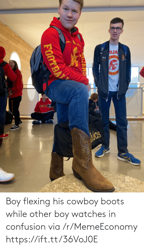 Watches: Boy flexing his cowboy boots while other boy watches in confusion via /r/MemeEconomy https://ift.tt/36VoJ0E
