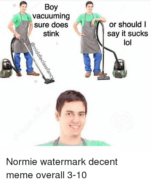 Its Sucks: Boy  vacuuming  sure does  stink  or should I  say it sucks  lol Normie watermark decent meme overall 3-10