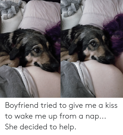 Give Me A Kiss: Boyfriend tried to give me a kiss to wake me up from a nap... She decided to help.
