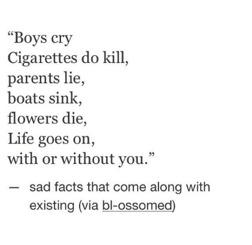 "Goes On: ""Boys cry  Cigarettes do kill  parents lie,  boats sink,  flowers die,  Life goes on,  with or without you.""  sad facts that come along with  existing (via bl-ossomed)"