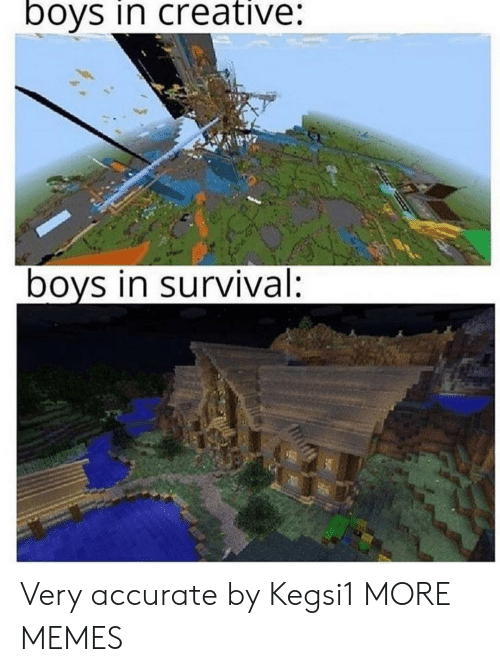 Dank, Memes, and Target: boys in creative:  boys in survival: Very accurate by Kegsi1 MORE MEMES