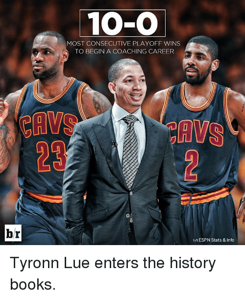 Tyronn Lue: br  10-O  MOST CONSECUTIVE PLAYOFF WINS  TO BEGIN A COACHING CAREER  AWS  h/t ESPN Stats & Info Tyronn Lue enters the history books.