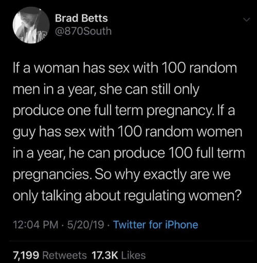 Brad: Brad Betts  је @870South  If a woman has sex with 100 random  men in a year, she can still only  produce one full term pregnancy. If a  guy has sex with 100 random women  in a year, he can produce 100 full term  pregnancies. So why exactly are we  only talking about regulating women?  12:04 PM 5/20/19 Twitter for iPhone  7,199 Retweets 17.3K Likes