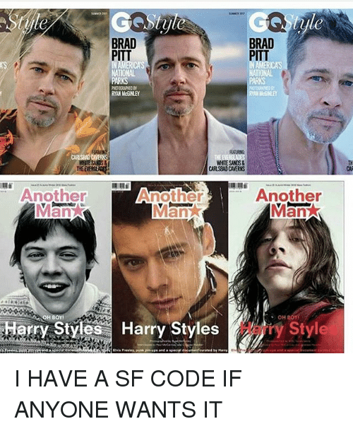 Brad Pitt: BRAD  BRAD  PITT  PITT  NATIONAL  NATIONAL  PARKS  WHITESANOS&  CARSBADCAVERNS  Another  Another  Another  an  OH BOY!  OH BOY!  rry Styles Harry Styles  Style I HAVE A SF CODE IF ANYONE WANTS IT