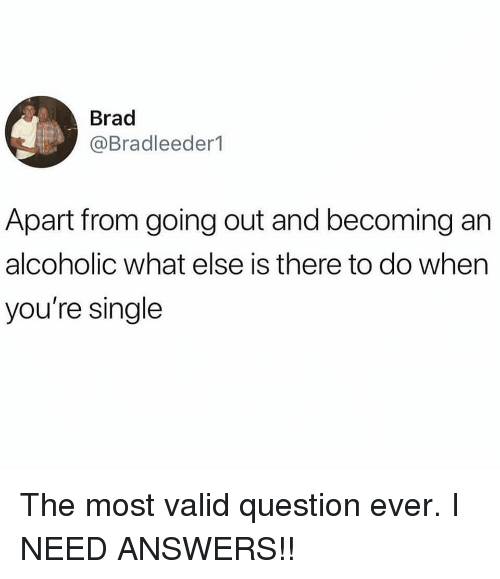 Memes, Alcoholic, and Single: Brad  @Bradleeder1  Apart from going out and becoming an  alcoholic what else is there to do when  you're single The most valid question ever. I NEED ANSWERS!!