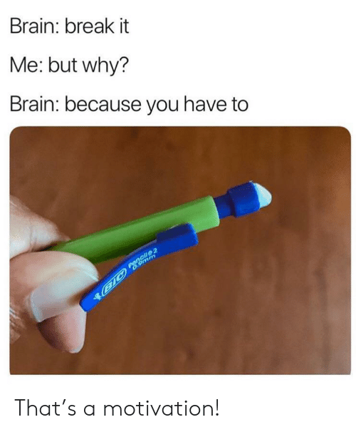 Brain, Break, and 9mm: Brain: break it  Me: but why?  Brain: because you have to  Pencil 2  B1C 6.9mm That's a motivation!