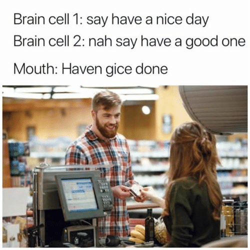 Dank, Brain, and Good: Brain cell 1: say have a nice day  Brain cell 2: nah say have a good one  Mouth: Haven gice done