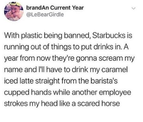 Head, Scream, and Starbucks: brandAn Current Year  @LeBearGirdle  With plastic being banned, Starbucks is  running out of things to put drinks in. A  year from now they're gonna scream my  name and I'lI have to drink my caramel  iced latte straight from the barista's  cupped hands while another employee  strokes my head like a scared horse