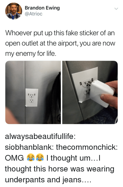 Fake, Life, and Omg: Brandon Ewing  @Atrioc  Whoever put up this fake sticker of an  open outlet at the airport, you are now  my enemy for life. alwaysabeautifullife:  siobhanblank: thecommonchick: OMG 😂😂   I thought um…I thought this horse was wearing underpants and jeans….