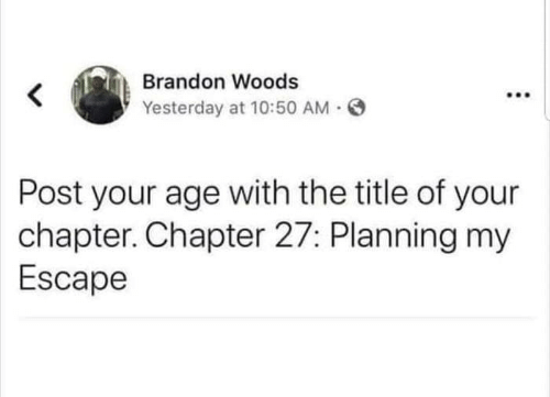Yesterday, Woods, and Post: Brandon Woods  Yesterday at 10:50 AM  Post your age with the title of your  chapter. Chapter 27: Planning my  Escape