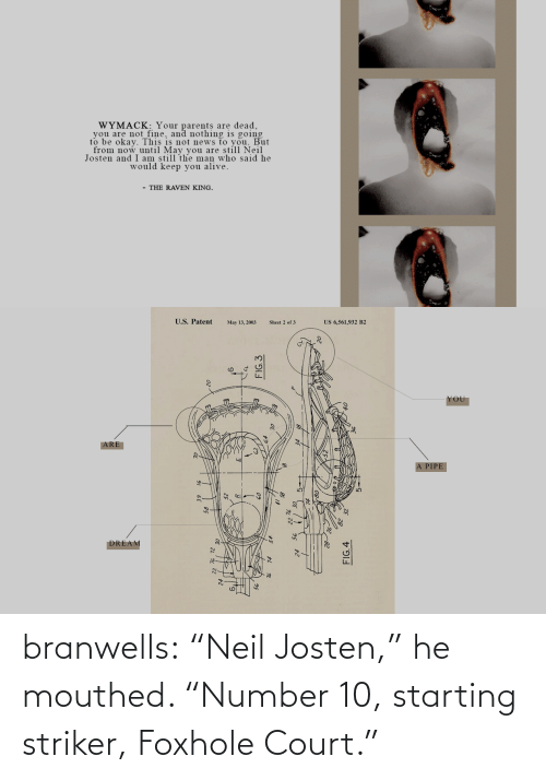 "Number: branwells: ""Neil Josten,"" he mouthed. ""Number 10, starting striker, Foxhole Court."""