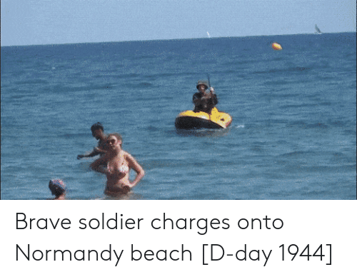 Normandy Beach: Brave soldier charges onto Normandy beach [D-day 1944]