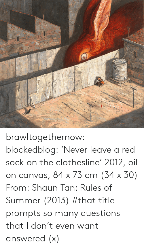 Tumblr, Summer, and Blog: brawltogethernow:  blockedblog:  'Never leave a red sock on the clothesline' 2012, oil on canvas, 84 x 73 cm (34 x 30) From:Shaun Tan: Rules of Summer(2013)   #that title prompts so many questions that I don't even want answered (x)