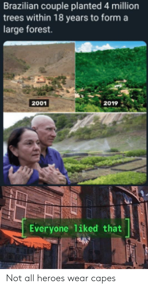 Brazilian: Brazilian couple planted 4 million  trees within 18 years to form a  large forest.  2001  2019  Everyone liked that Not all heroes wear capes