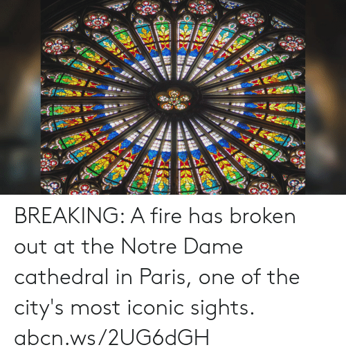 in paris: BREAKING: A fire has broken out at the Notre Dame cathedral in Paris, one of the city's most iconic sights. abcn.ws/2UG6dGH
