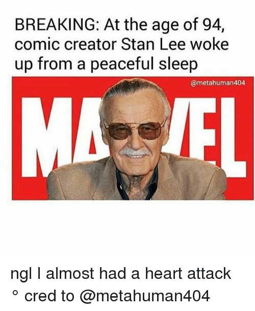 I Almost Had A Heart Attack: BREAKING: At the age of 94,  comic creator Stan Lee woke  up from a peaceful sleep  @metahuman404 ngl I almost had a heart attack ° 《cred to @metahuman404 》
