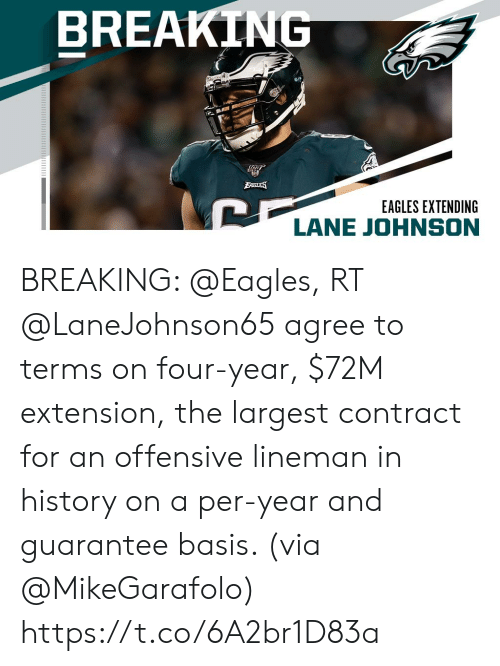 Philadelphia Eagles, Memes, and History: BREAKING  BAGLES  EAGLES EXTENDING  LANE JOHNSON BREAKING: @Eagles, RT @LaneJohnson65 agree to terms on four-year, $72M extension, the largest contract for an offensive lineman in history on a per-year and guarantee basis. (via @MikeGarafolo) https://t.co/6A2br1D83a