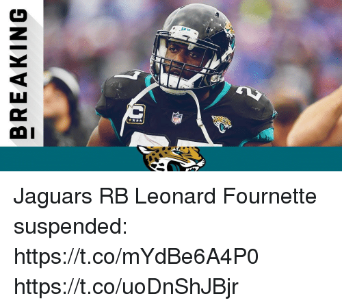 Memes, 🤖, and Jaguars: BREAKING Jaguars RB Leonard Fournette suspended: https://t.co/mYdBe6A4P0 https://t.co/uoDnShJBjr