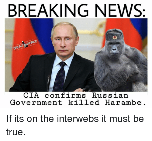interweb: BREAKING NEWS:  WORKS  CIA confirms Russian  Government killed Harambe. If its on the interwebs it must be true.