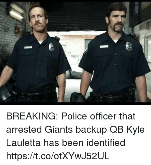 Football, Nfl, and Police: BREAKING: Police officer that arrested Giants backup QB Kyle Lauletta has been identified https://t.co/otXYwJ52UL