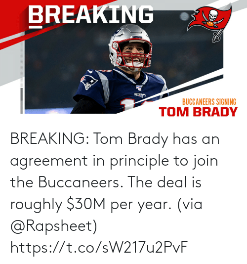 tom brady: BREAKING: Tom Brady has an agreement in principle to join the Buccaneers. The deal is roughly $30M per year. (via @Rapsheet) https://t.co/sW217u2PvF