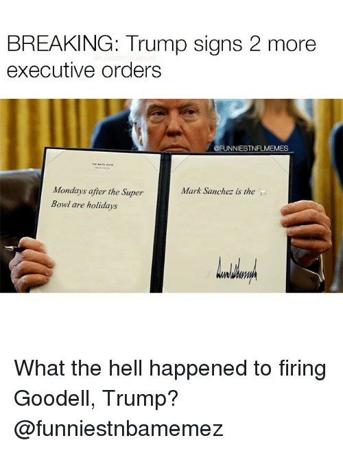 executions: BREAKING: Trump signs 2 more  executive orders  @FUNNIESTNFLMEMES  Mondays after the Super  Mark Sanchez is the  Bowl are holidays What the hell happened to firing Goodell, Trump? @funniestnbamemez
